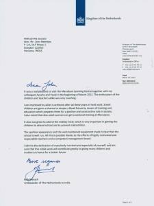 Letter Dutch Ambassador